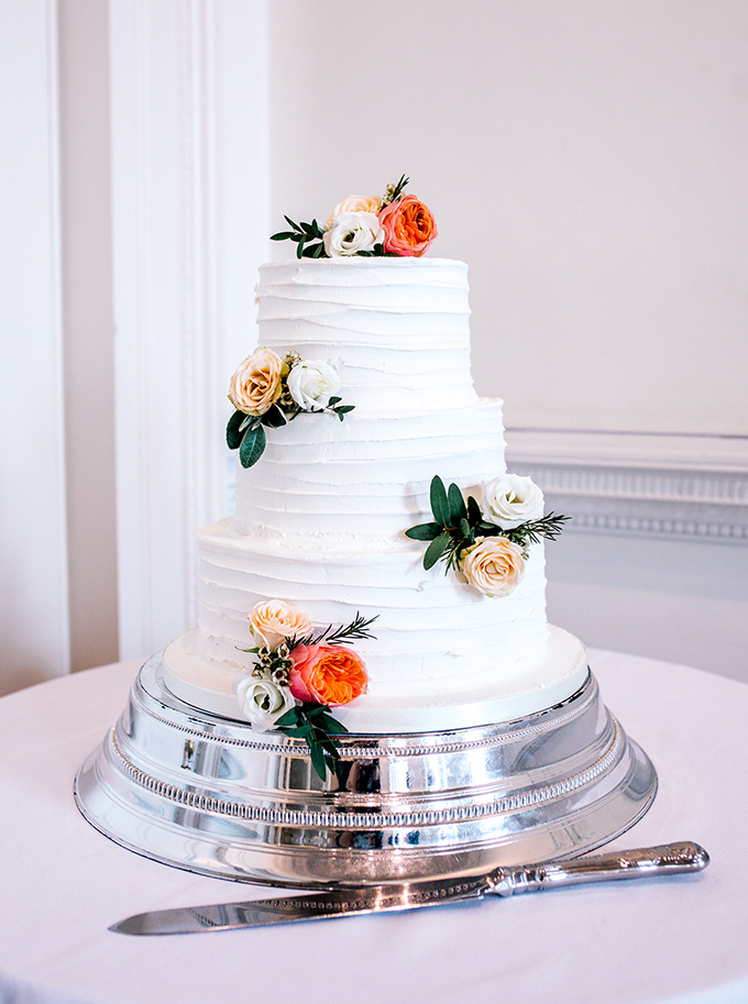 Rustic Wedding Cake with Orange Flowers