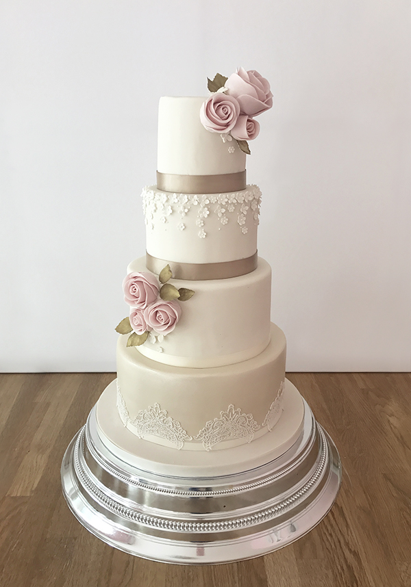 4 Tier Weddin Cake with Delicate Flower and Lace Details