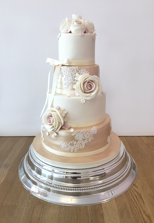 rose gold and royal blue wedding cake home the cakery leamington spa 19272