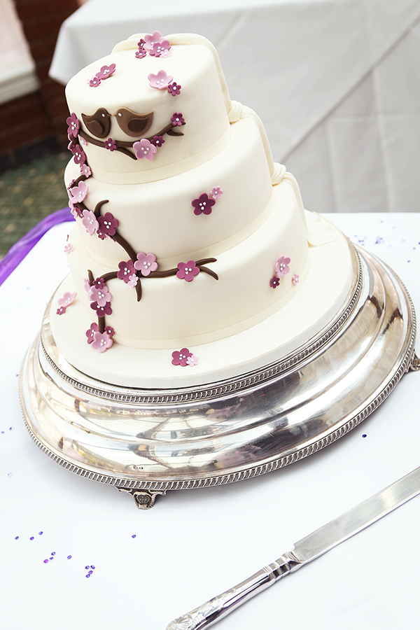 Wedding Cake with Purple Blossom and Lovebirds 2